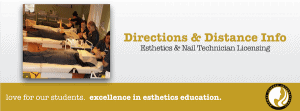 Directions and Distance Info for Esthetics School, Esthetician School and Nail Tech School