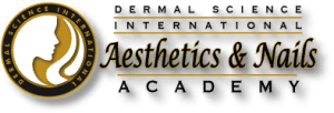 Logo for Dermal Science International Aesthetics and Nail Academy in Reston VA with Drop Shadow