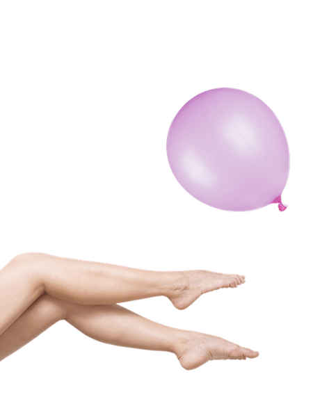 Picture of Woman's Legs after Laser Hair Removal with Pink Balloon