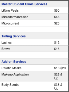 Student Clinic Prices for Lifting Peels, Microdermabrasian, Microcurrent and Tinting Services
